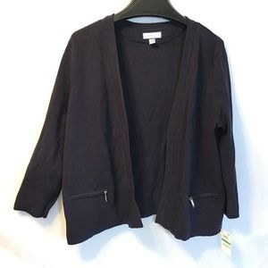 Charter Club Size L Navy Blue Open Front Cardigan